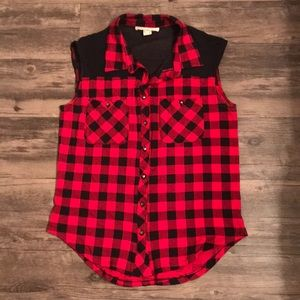 Plaid Tank Button Down